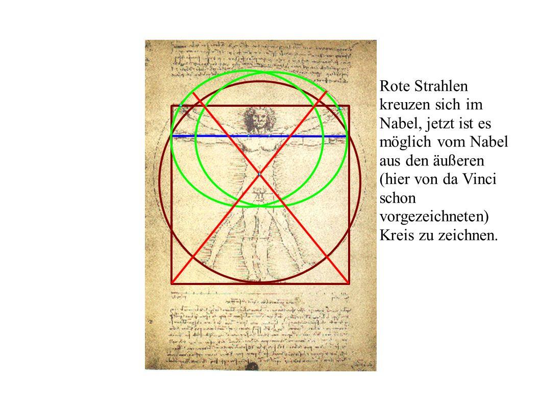 Rote Strahlen kreuzen sich im Nabel, jetzt ist es möglich vom Nabel aus den äußeren (hier von da Vinci schon vorgezeichneten) Kreis zu zeichnen.