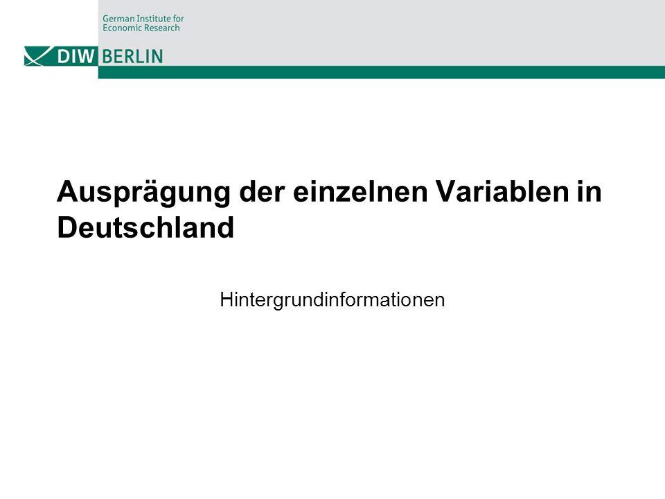 Ausprägung der einzelnen Variablen in Deutschland Hintergrundinformationen
