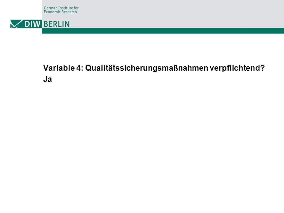 Variable 4: Qualitätssicherungsmaßnahmen verpflichtend? Ja
