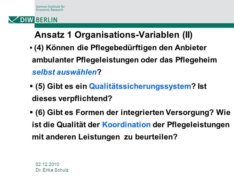 02.12.2010 Dr. Erika Schulz Ansatz 1 Organisations-Variablen (II) (4) Können die Pflegebedürftigen den Anbieter ambulanter Pflegeleistungen oder das P