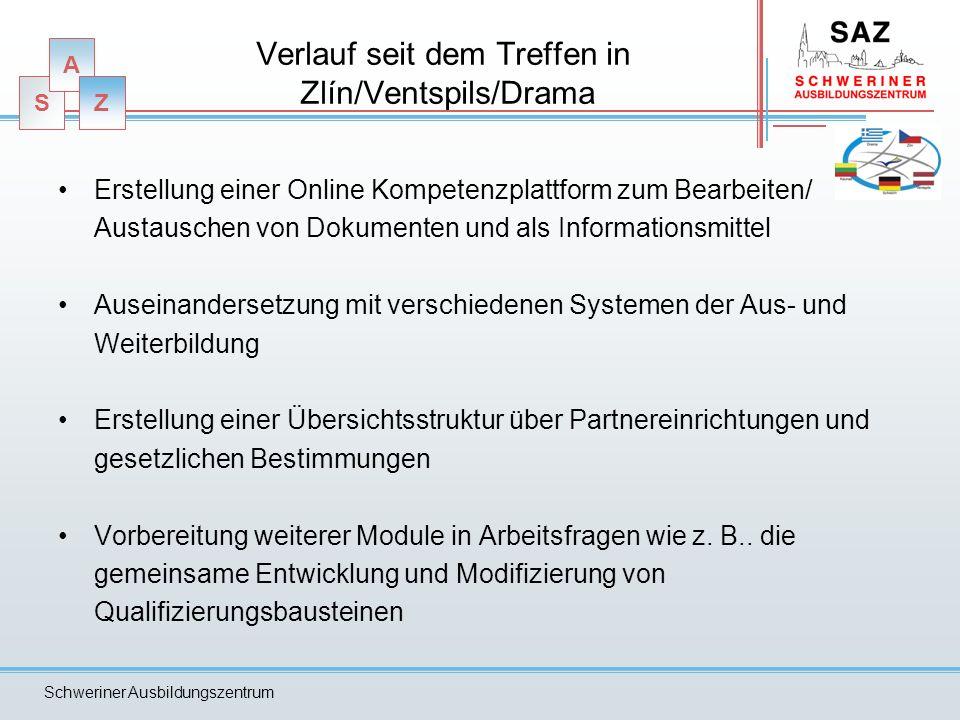 S A Z Schweriner Ausbildungszentrum Verlauf seit dem Treffen in Zlín/Ventspils/Drama Erstellung einer Online Kompetenzplattform zum Bearbeiten/ Austau