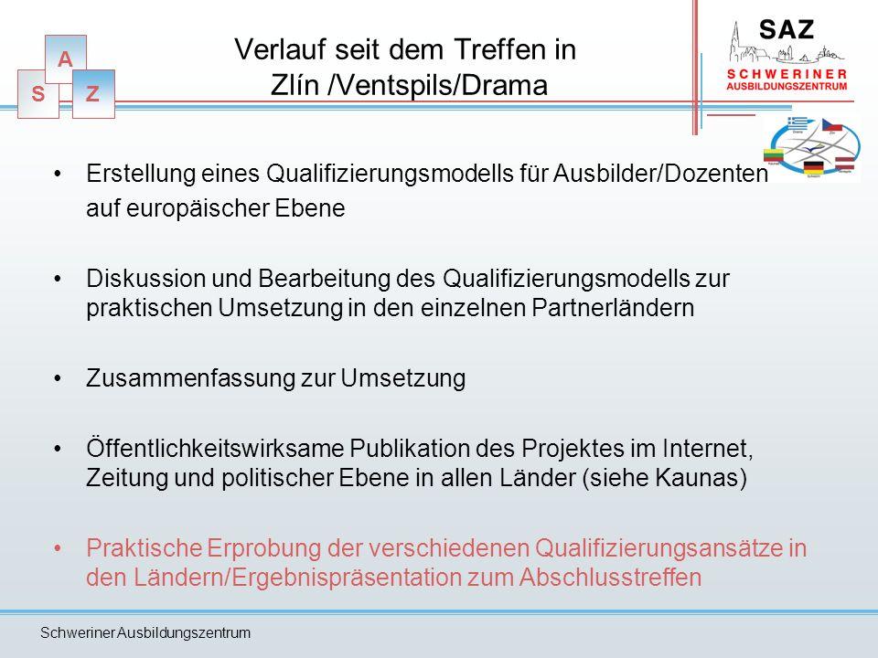 S A Z Schweriner Ausbildungszentrum Verlauf seit dem Treffen in Zlín /Ventspils/Drama Erstellung eines Qualifizierungsmodells für Ausbilder/Dozenten a
