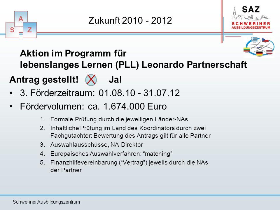 S A Z Schweriner Ausbildungszentrum Zukunft 2010 - 2012 Aktion im Programm für lebenslanges Lernen (PLL) Leonardo Partnerschaft Antrag gestellt! Ja! 3