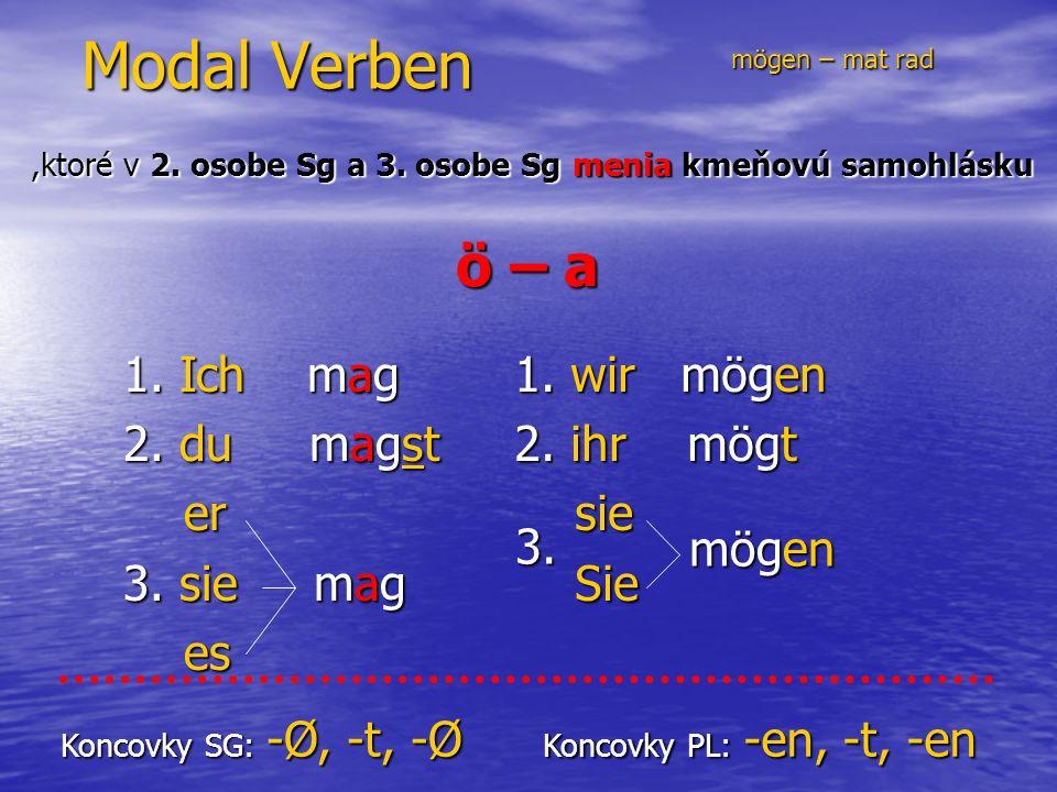 Modal Verben 1. Ich mag 2. du magst er er 3. sie mag es es 1.