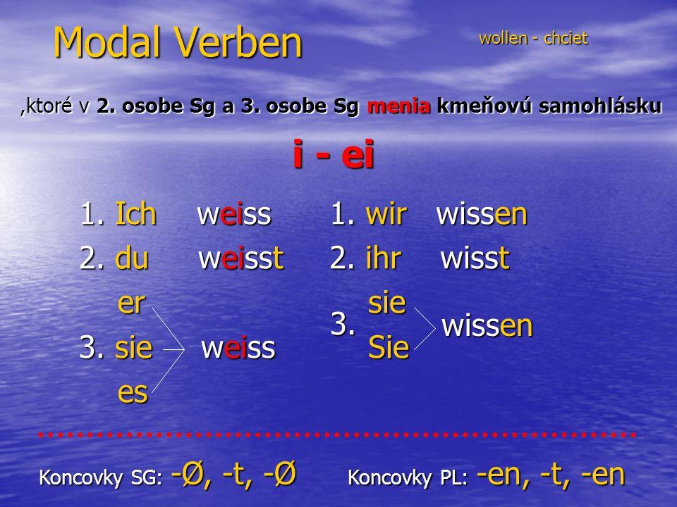 Modal Verben wollen - chciet wollen - chciet,ktoré v 2.