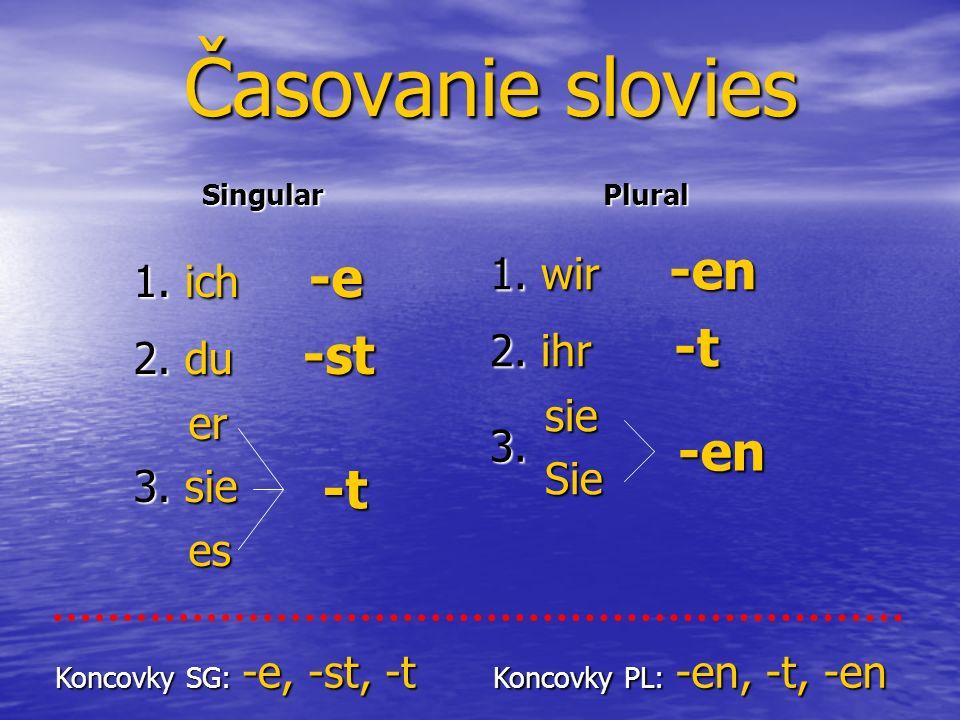 Časovanie slovies SingularPlural Koncovky SG: -e, -st, -t Koncovky PL: -en, -t, -en 1.