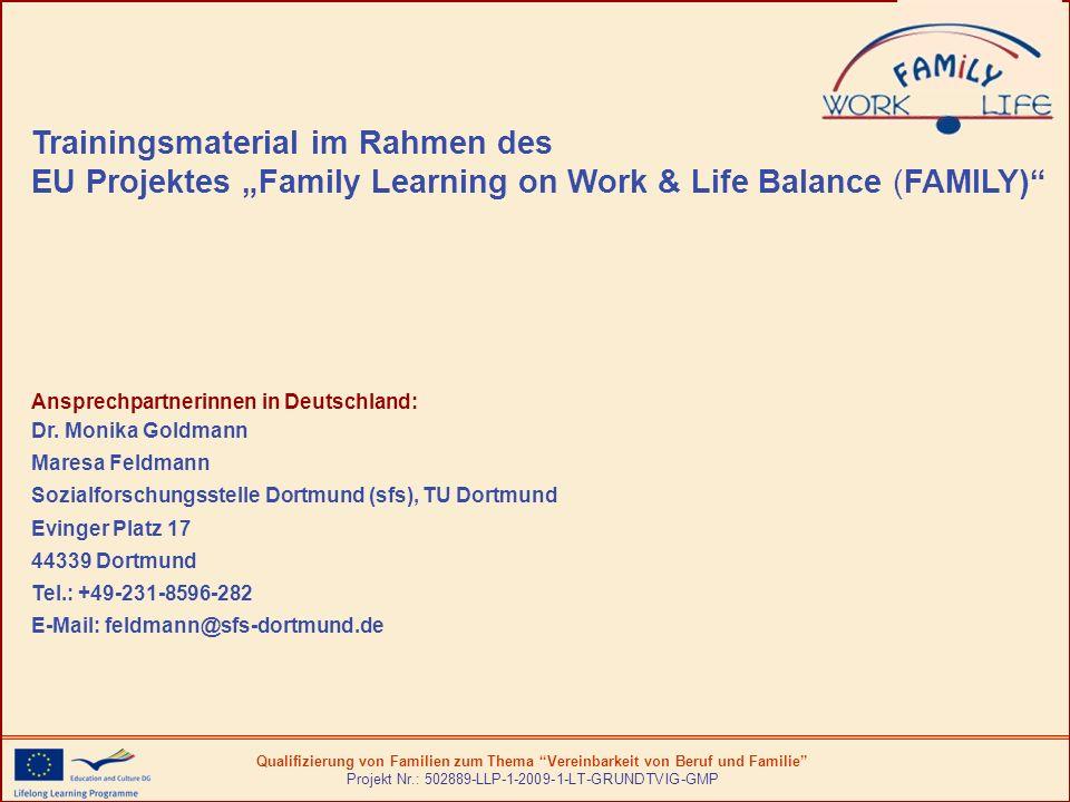Qualifizierung von Familien zum Thema Vereinbarkeit von Beruf und Familie Projekt Nr.: 502889-LLP-1-2009-1-LT-GRUNDTVIG-GMP Einführung in das Schulungsprogramm Lernen von Familien im Bereich Vereinbarkeit von Beruf und Familie Das Schulungsprogramm ist eines der Ergebnisse des Projekts Qualifizierung von Familien zum Thema Vereinbarkeit von Beruf und Familie (2009-2011) im Rahmen des Unterprogramms der Europäischen Kommission zum Lebenslangen Lernen Grundtvig, das von Partnern in Finnland, Deutschland, Italien, Lettland, Litauen und dem Vereinigten Königreich entwickelt wurde.
