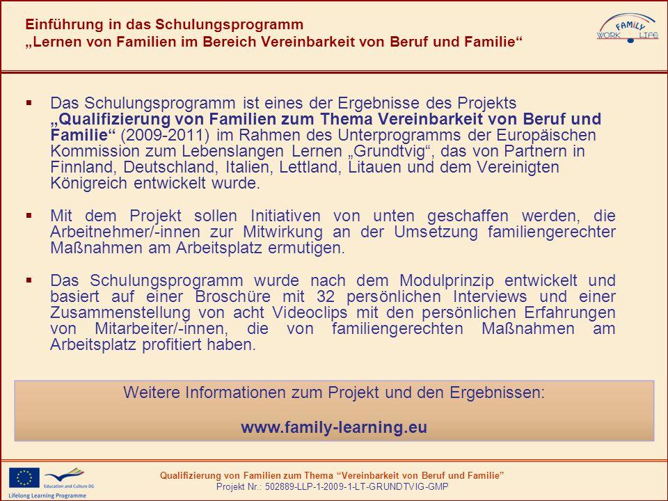 Qualifizierung von Familien zum Thema Vereinbarkeit von Beruf und Familie Projekt Nr.: 502889-LLP-1-2009-1-LT-GRUNDTVIG-GMP Unsere Projektpartner kommen aus...
