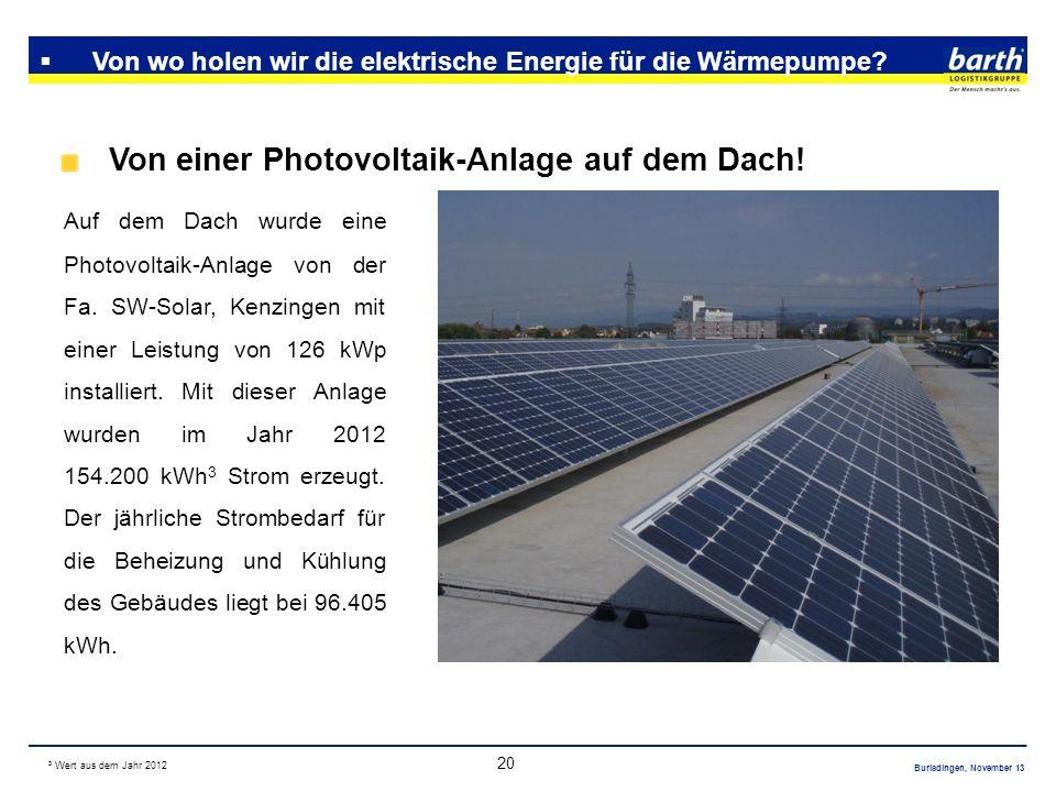 Burladingen, November 13 20 Von wo holen wir die elektrische Energie für die Wärmepumpe? Von einer Photovoltaik-Anlage auf dem Dach! Auf dem Dach wurd
