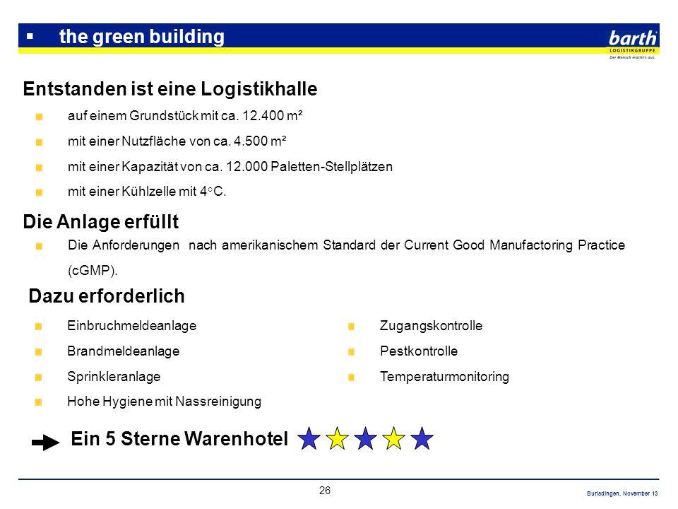 Burladingen, November 13 26 the green building Entstanden ist eine Logistikhalle auf einem Grundstück mit ca. 12.400 m² mit einer Nutzfläche von ca. 4