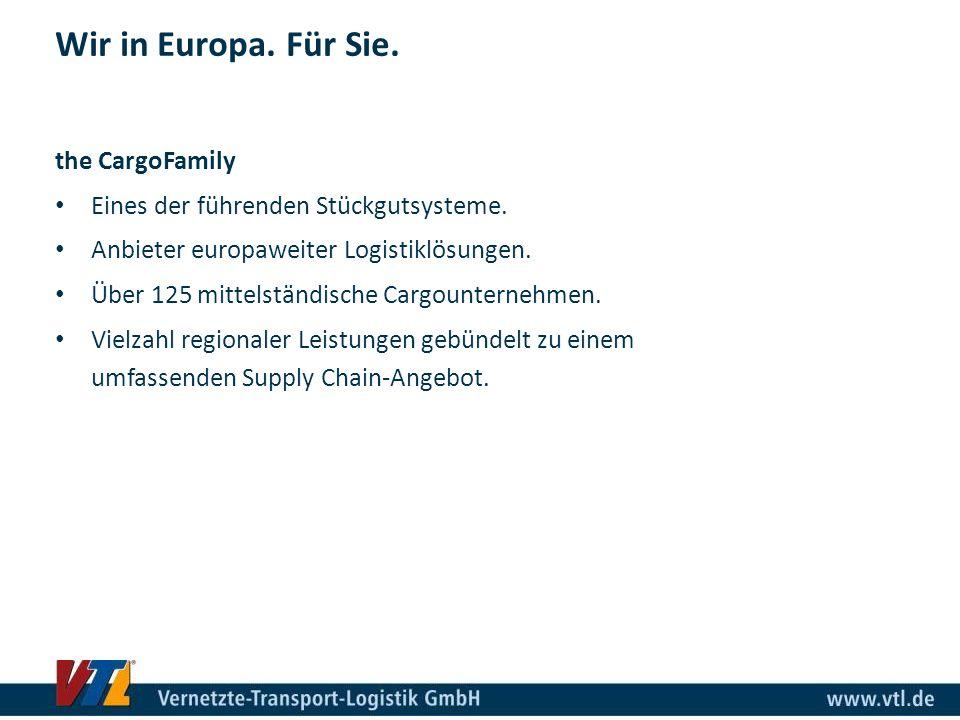 the CargoFamily Eines der führenden Stückgutsysteme. Anbieter europaweiter Logistiklösungen. Über 125 mittelständische Cargounternehmen. Vielzahl regi