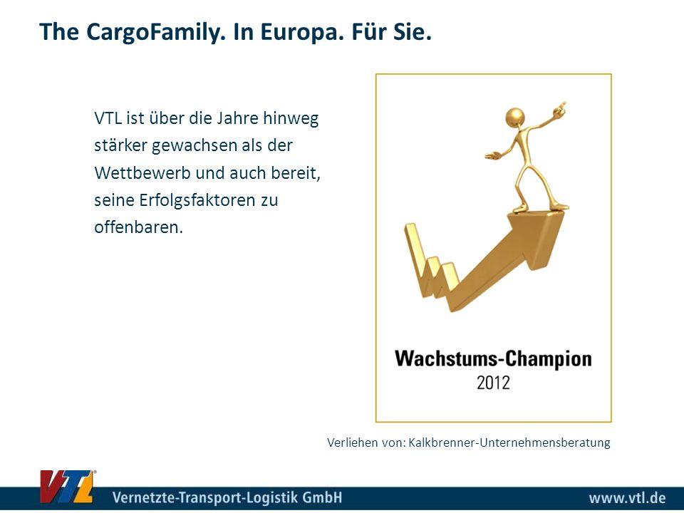 The CargoFamily. In Europa. Für Sie. Verliehen von: Kalkbrenner-Unternehmensberatung VTL ist über die Jahre hinweg stärker gewachsen als der Wettbewer