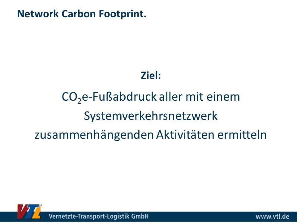 Network Carbon Footprint. Ziel: CO 2 e-Fußabdruck aller mit einem Systemverkehrsnetzwerk zusammenhängenden Aktivitäten ermitteln
