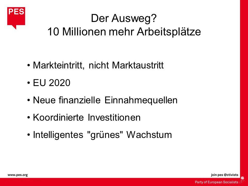 Der Ausweg? 10 Millionen mehr Arbeitsplätze Markteintritt, nicht Marktaustritt EU 2020 Neue finanzielle Einnahmequellen Koordinierte Investitionen Int