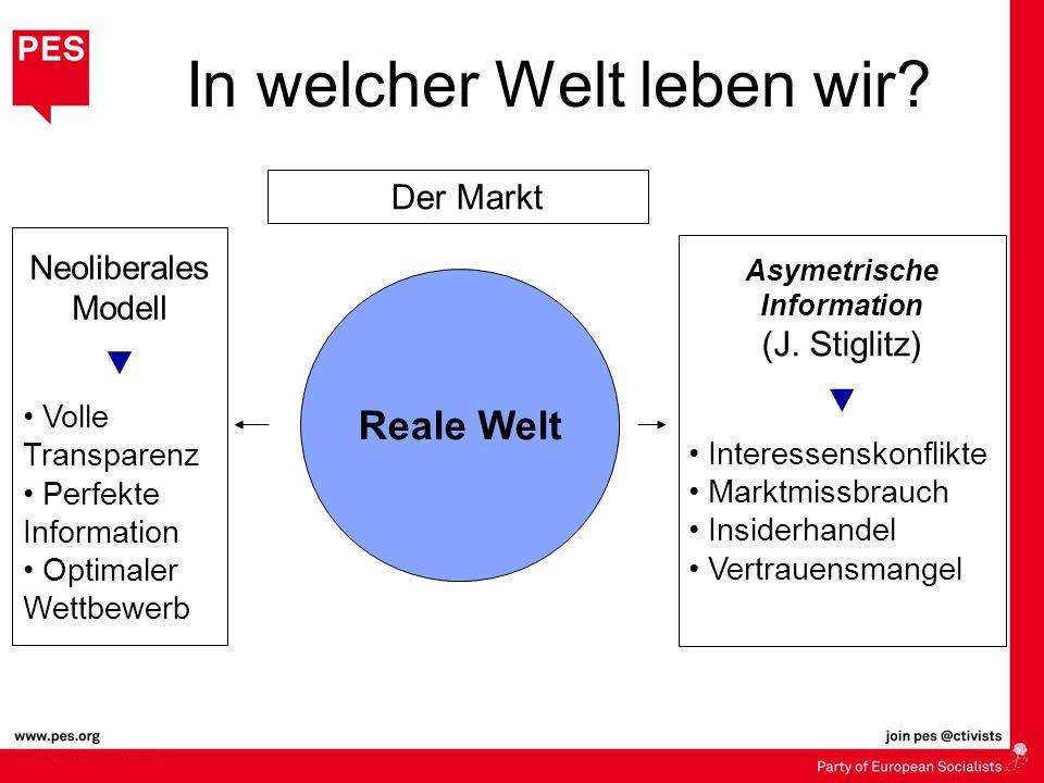 In welcher Welt leben wir? Reale Welt Der Markt Neoliberales Modell Volle Transparenz Perfekte Information Optimaler Wettbewerb Asymetrische Informati