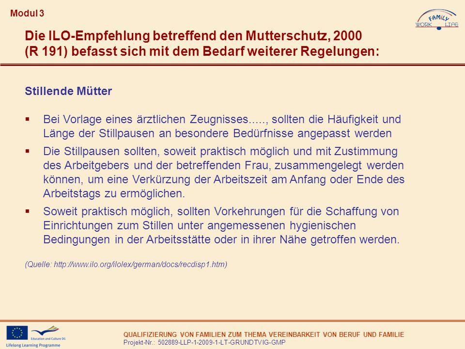 QUALIFIZIERUNG VON FAMILIEN ZUM THEMA VEREINBARKEIT VON BERUF UND FAMILIE Projekt-Nr.: 502889-LLP-1-2009-1-LT-GRUNDTVIG-GMP Modul 3 Die ILO-Empfehlung