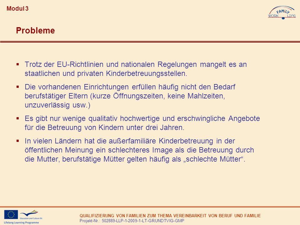 QUALIFIZIERUNG VON FAMILIEN ZUM THEMA VEREINBARKEIT VON BERUF UND FAMILIE Projekt-Nr.: 502889-LLP-1-2009-1-LT-GRUNDTVIG-GMP Modul 3 Trotz der EU-Richt