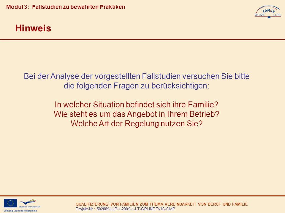 QUALIFIZIERUNG VON FAMILIEN ZUM THEMA VEREINBARKEIT VON BERUF UND FAMILIE Projekt-Nr.: 502889-LLP-1-2009-1-LT-GRUNDTVIG-GMP Bei der Analyse der vorges