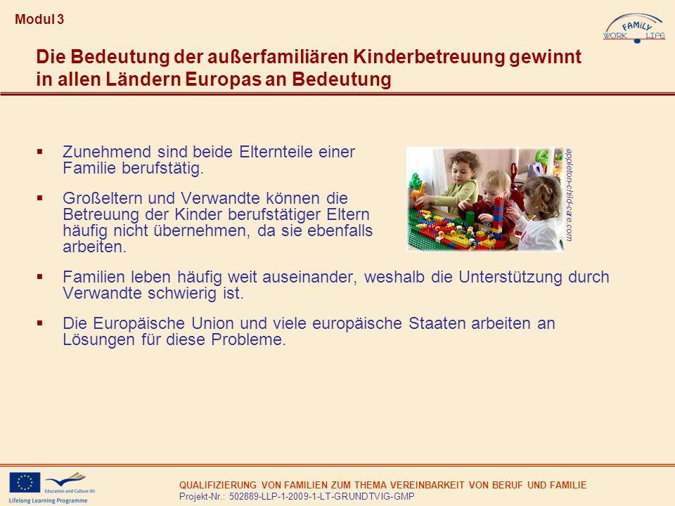 QUALIFIZIERUNG VON FAMILIEN ZUM THEMA VEREINBARKEIT VON BERUF UND FAMILIE Projekt-Nr.: 502889-LLP-1-2009-1-LT-GRUNDTVIG-GMP Ziele des EU-Gipfels in Barcelona 2002 nach Beschluss des Europäischen Rates: Die Mitgliedstaaten sollten Hemm- nisse beseitigen, die Frauen von einer Beteiligung am Erwerbsleben abhalten, und bestrebt sein, nach Maßgabe der Nachfrage nach Kinderbetreuungseinrichtungen und im Einklang mit den einzelstaat- lichen Vorgaben für das Versor- gungsangebot bis 2010 für mindes- tens 90 % der Kinder zwischen drei Jahren und dem Schulpflichtalter und für mindestens 33 % der Kin- der unter drei Jahren Betreuungs- plätze zur Verfügung zu stellen.