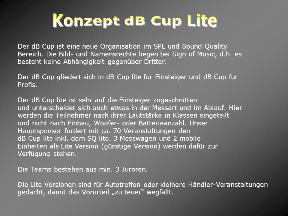 Der dB Cup ist eine neue Organisation im SPL und Sound Quality Bereich. Die Bild- und Namensrechte liegen bei Sign of Music, d.h. es besteht keine Abh