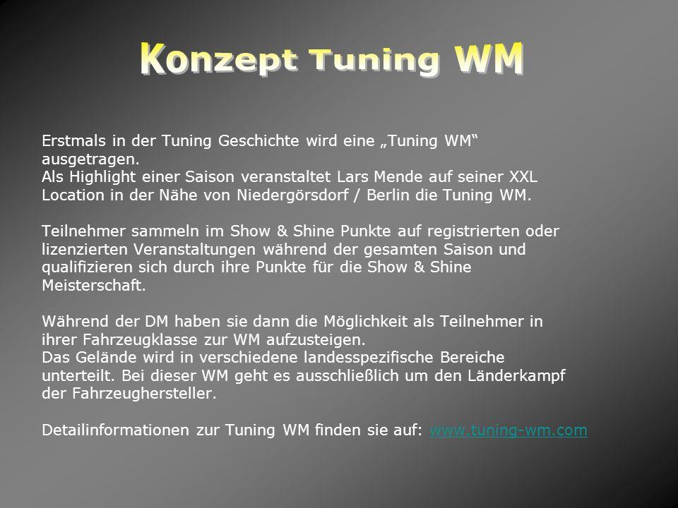 Erstmals in der Tuning Geschichte wird eine Tuning WM ausgetragen. Als Highlight einer Saison veranstaltet Lars Mende auf seiner XXL Location in der N
