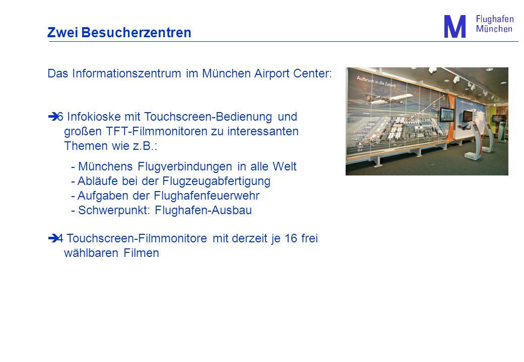 Das Informationszentrum im München Airport Center: 6 Infokioske mit Touchscreen-Bedienung und großen TFT-Filmmonitoren zu interessanten Themen wie z.B