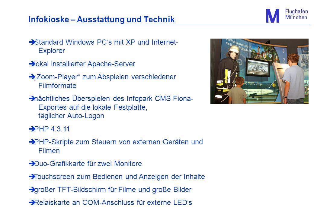 Infokioske – Ausstattung und Technik Standard Windows PCs mit XP und Internet- Explorer lokal installierter Apache-Server Zoom-Player zum Abspielen ve