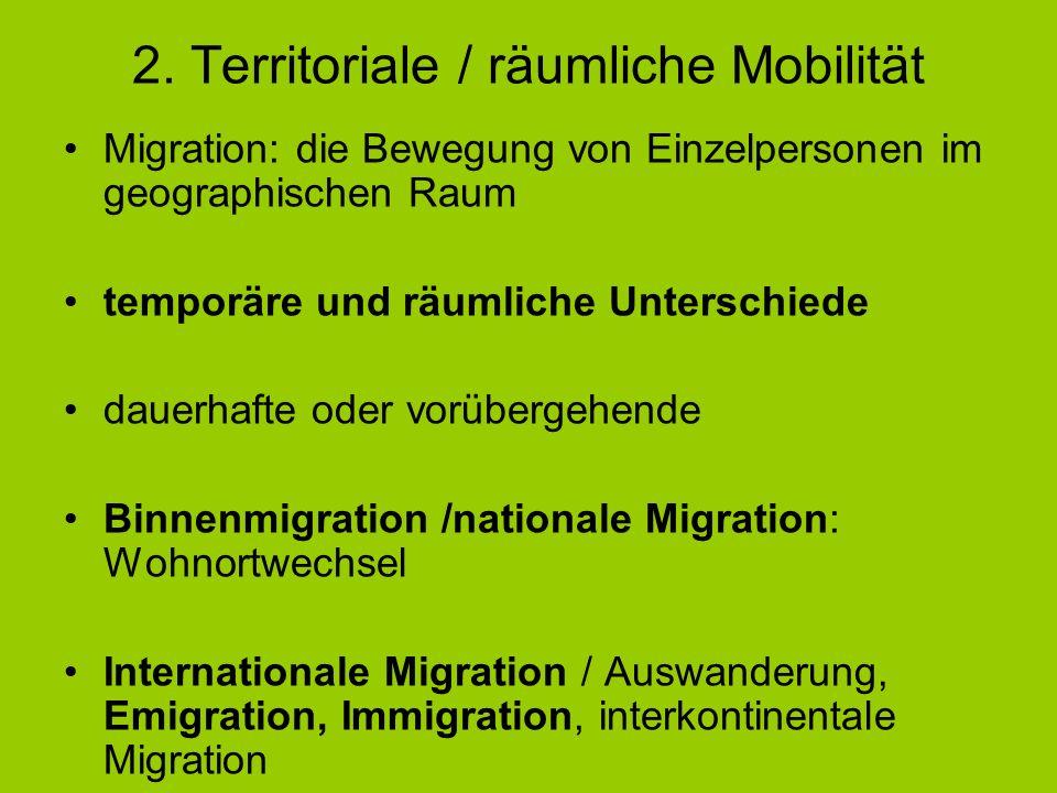 2. Territoriale / räumliche Mobilität Migration: die Bewegung von Einzelpersonen im geographischen Raum temporäre und räumliche Unterschiede dauerhaft
