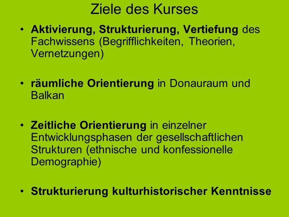 Ziele des Kurses Aktivierung, Strukturierung, Vertiefung des Fachwissens (Begrifflichkeiten, Theorien, Vernetzungen) räumliche Orientierung in Donaura