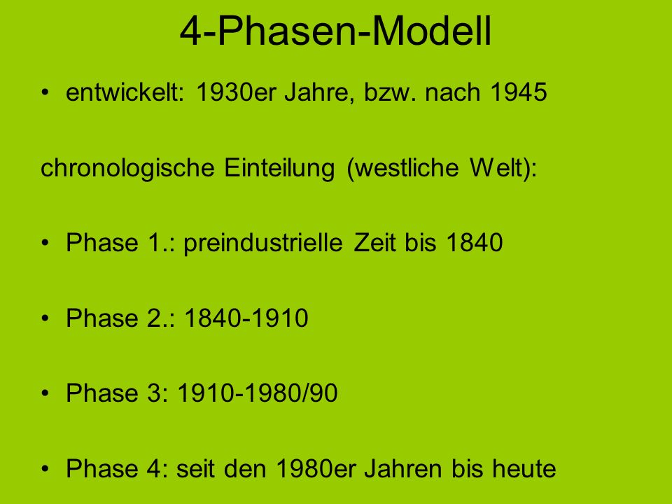 4-Phasen-Modell entwickelt: 1930er Jahre, bzw. nach 1945 chronologische Einteilung (westliche Welt): Phase 1.: preindustrielle Zeit bis 1840 Phase 2.: