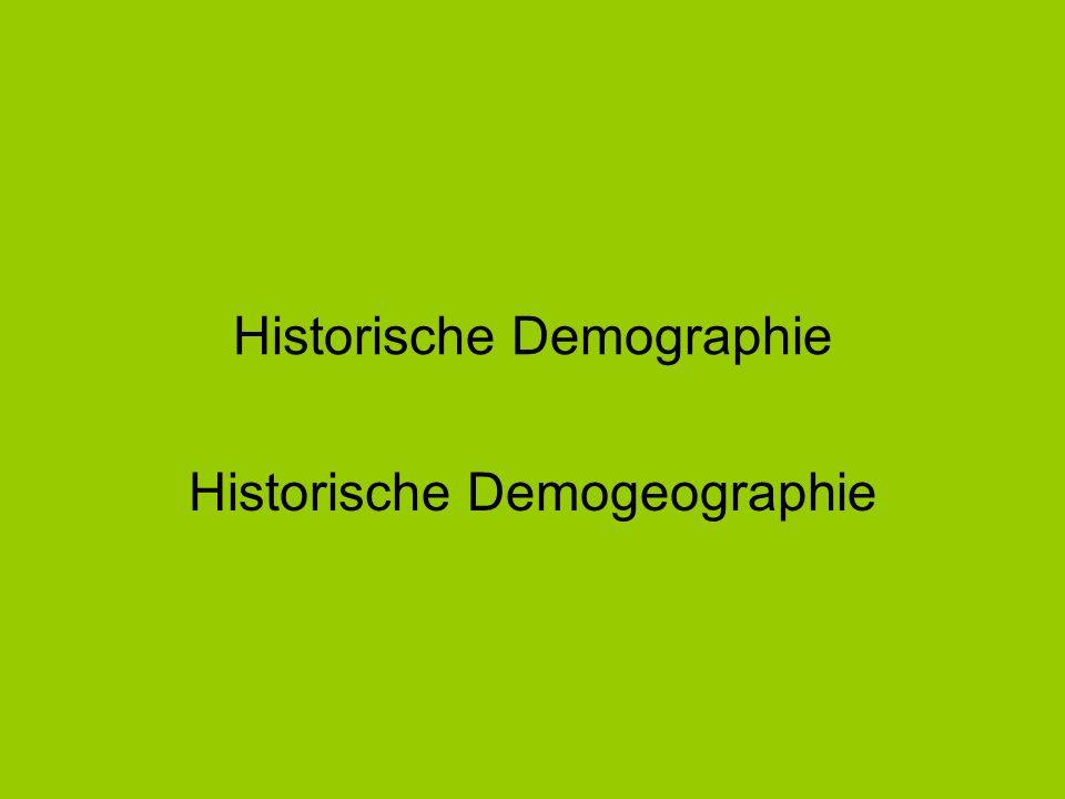 Historische Demographie Historische Demogeographie
