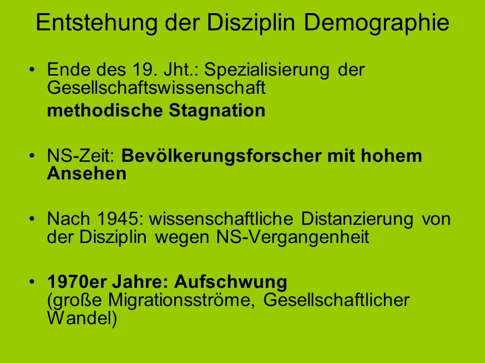Entstehung der Disziplin Demographie Ende des 19. Jht.: Spezialisierung der Gesellschaftswissenschaft methodische Stagnation NS-Zeit: Bevölkerungsfors