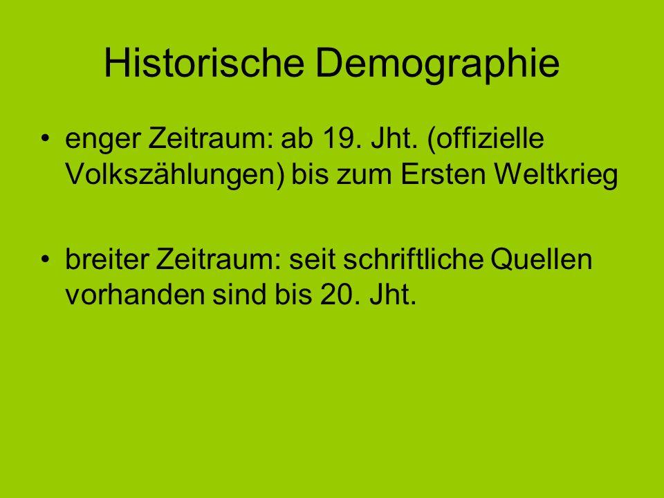 Historische Demographie enger Zeitraum: ab 19. Jht. (offizielle Volkszählungen) bis zum Ersten Weltkrieg breiter Zeitraum: seit schriftliche Quellen v