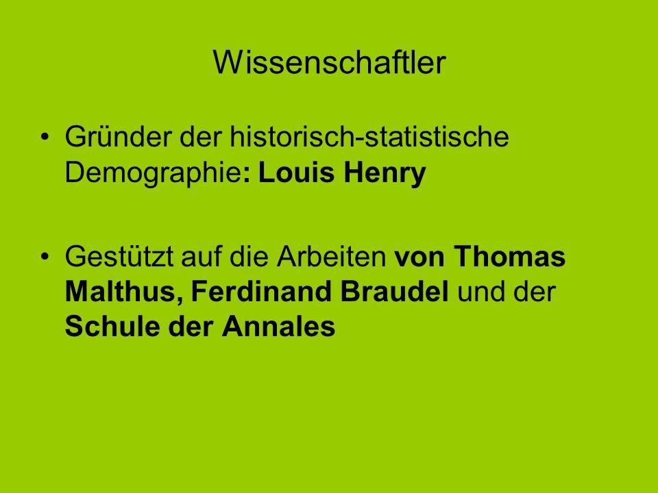 Wissenschaftler Gründer der historisch-statistische Demographie: Louis Henry Gestützt auf die Arbeiten von Thomas Malthus, Ferdinand Braudel und der S