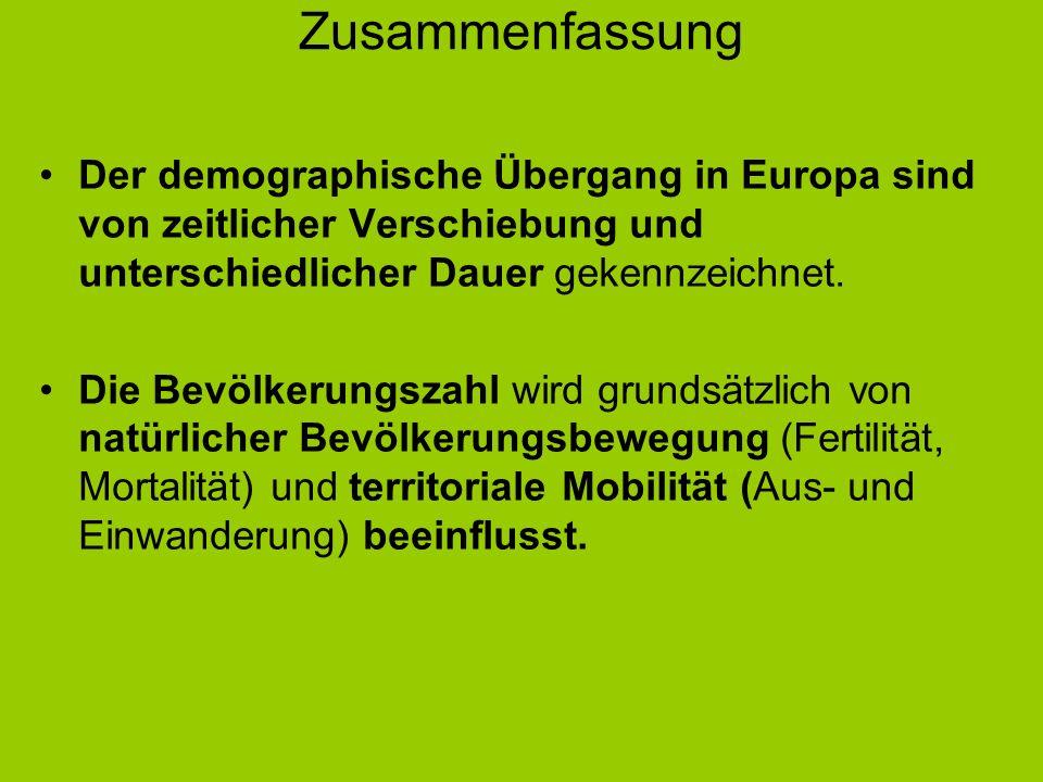Zusammenfassung Der demographische Übergang in Europa sind von zeitlicher Verschiebung und unterschiedlicher Dauer gekennzeichnet. Die Bevölkerungszah