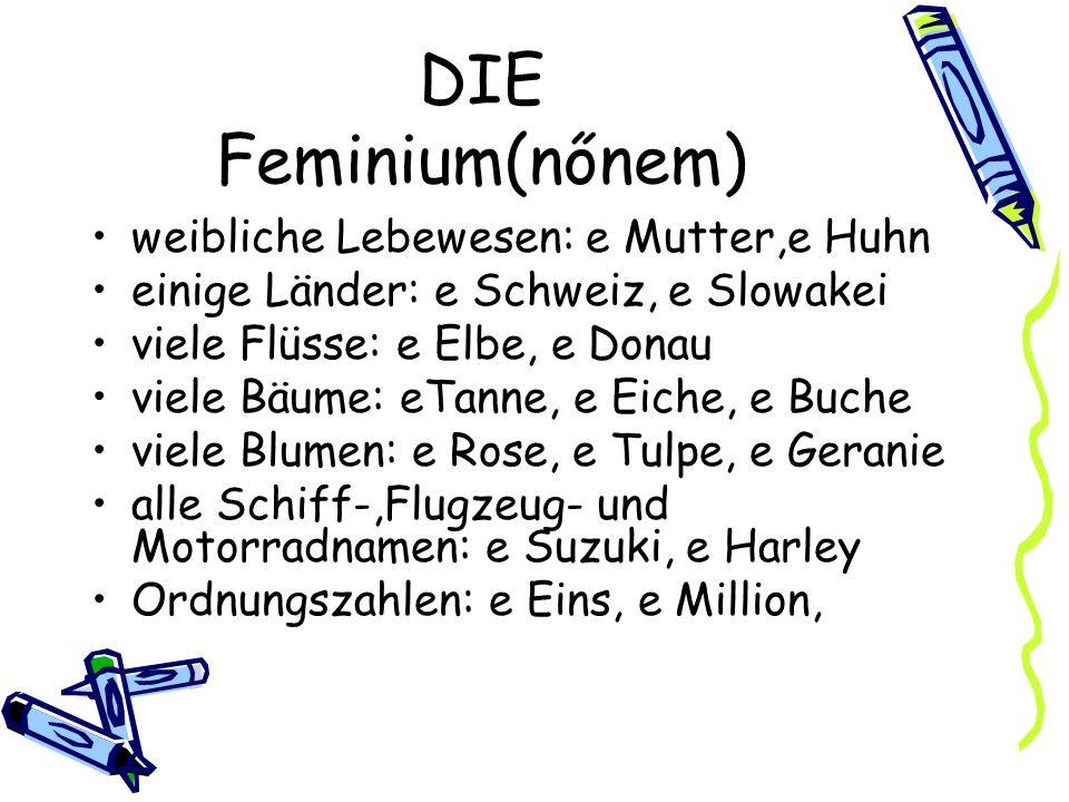 DIE Feminium(nőnem Endungen: -ei/-heit/-ie/-in/ -keit /-schaft /-tät/-ion/-tion/-ung/-age/-anz -enz /-ik/ viele Substantive auf–e, die kein Lebewesen sind: e Liebe, e Lunge, e Hose alle einsilbigen Ableitungen auf-t : e Fahrt/ aber: das Brot, das Boot keine Ableitungen