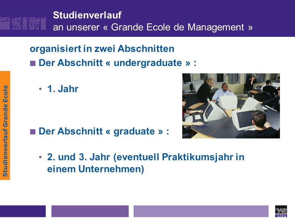 Studienverlauf an unserer « Grande Ecole de Management » Studienverlauf Grande Ecole organisiert in zwei Abschnitten Der Abschnitt « undergraduate » :