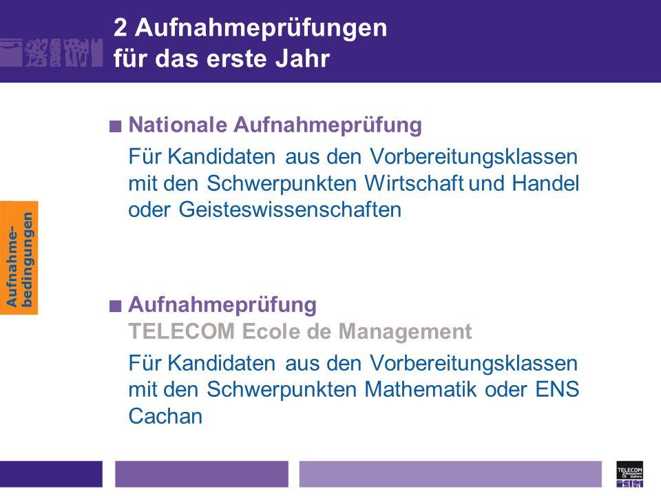Aufnahme- bedingungen 2 Aufnahmeprüfungen für das erste Jahr Nationale Aufnahmeprüfung Für Kandidaten aus den Vorbereitungsklassen mit den Schwerpunkt