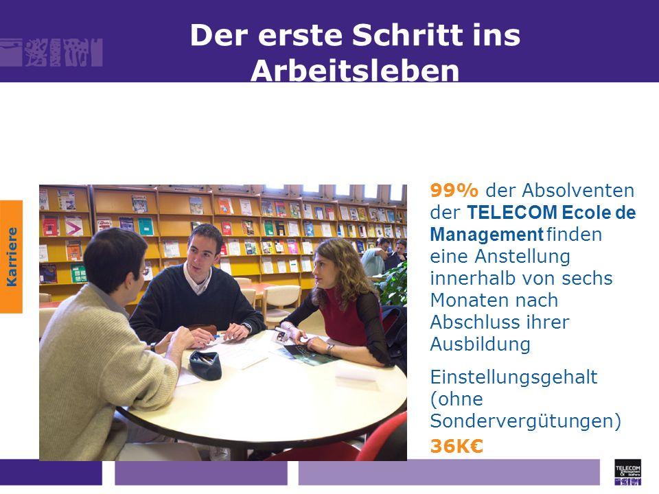 Der erste Schritt ins Arbeitsleben Karriere 99% der Absolventen der TELECOM Ecole de Management f inden eine Anstellung innerhalb von sechs Monaten na