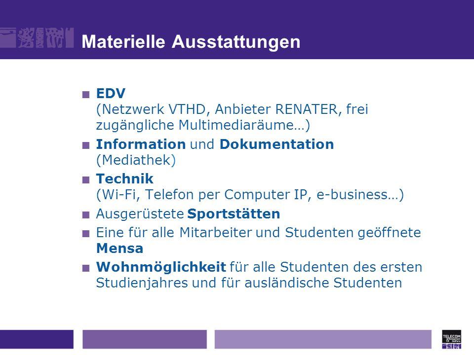 Materielle Ausstattungen EDV (Netzwerk VTHD, Anbieter RENATER, frei zugängliche Multimediaräume…) Information und Dokumentation (Mediathek) Technik (W