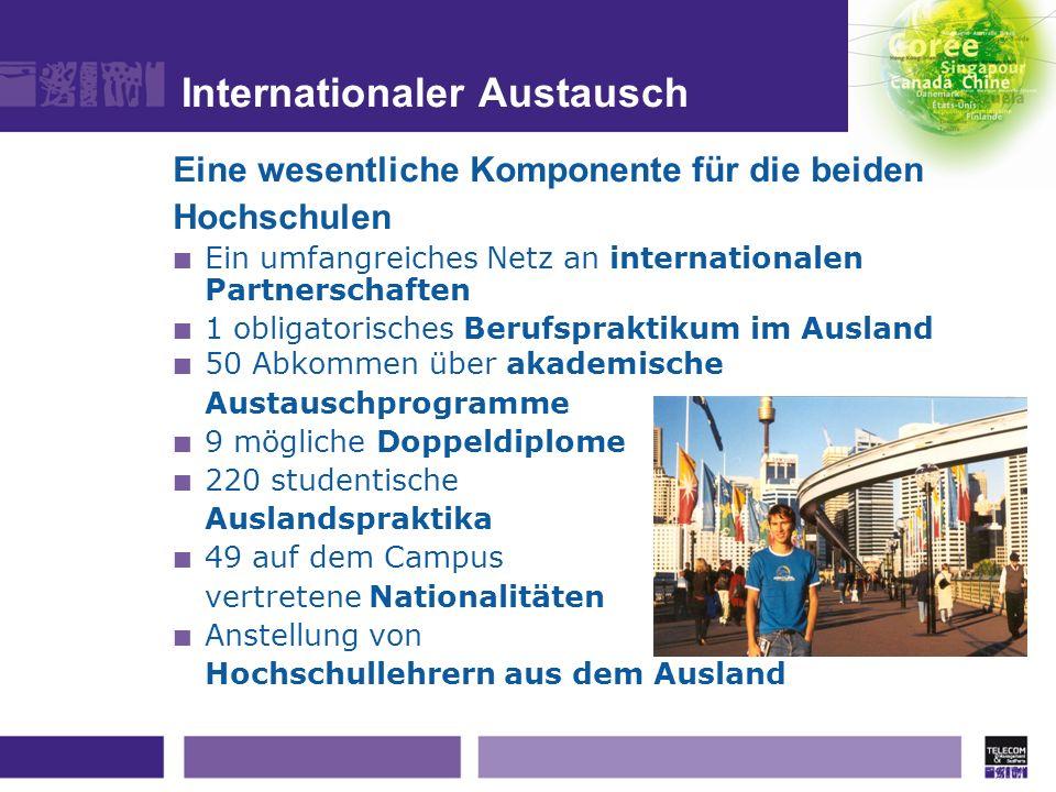 Internationaler Austausch Eine wesentliche Komponente für die beiden Hochschulen Ein umfangreiches Netz an internationalen Partnerschaften 1 obligator