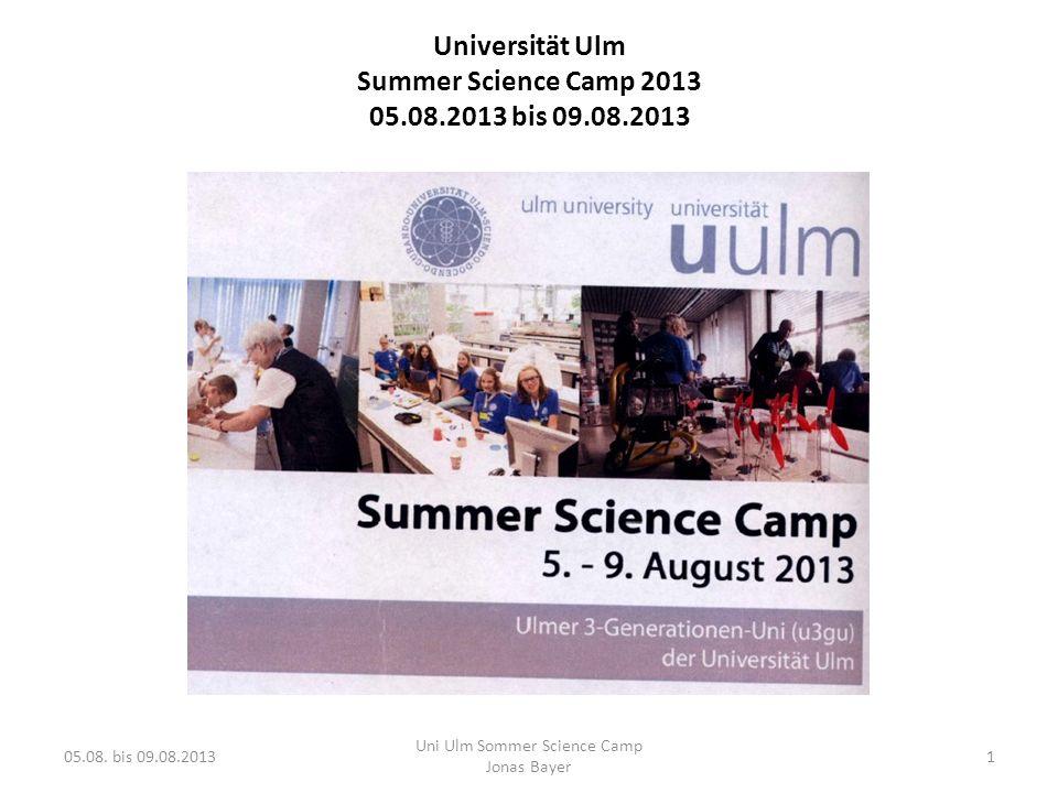 Ende … noch nicht.. 05.08. bis 09.08.2013 Uni Ulm Sommer Science Camp Jonas Bayer 12