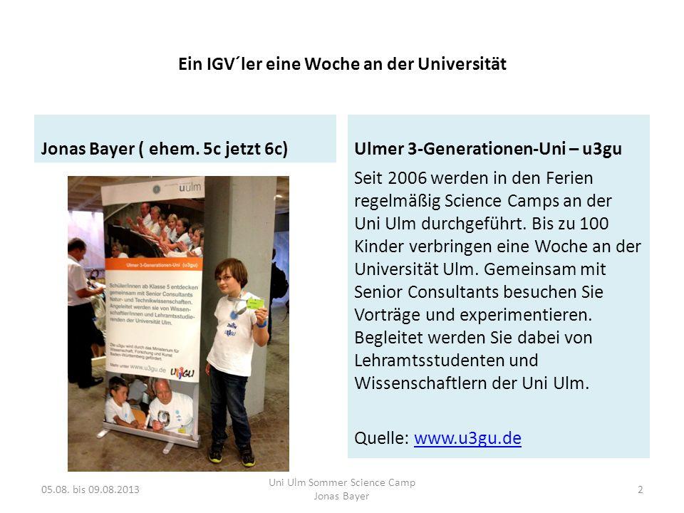 Meine Bewerbung 05.08. bis 09.08.2013 Uni Ulm Sommer Science Camp Jonas Bayer 3
