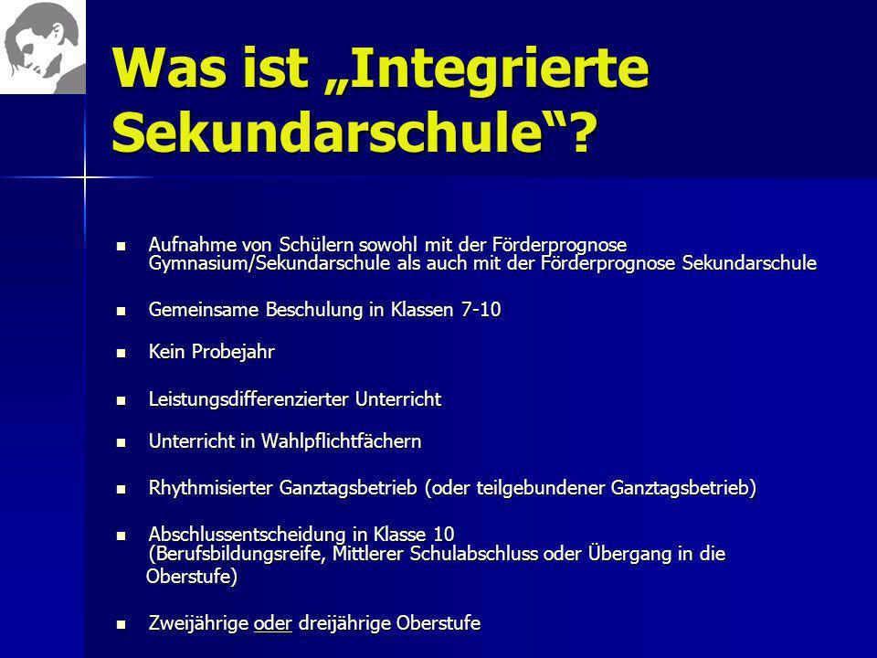 Was ist Integrierte Sekundarschule? Aufnahme von Schülern sowohl mit der Förderprognose Gymnasium/Sekundarschule als auch mit der Förderprognose Sekun