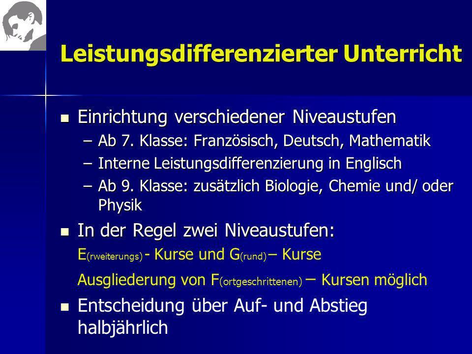 Leistungsdifferenzierter Unterricht Einrichtung verschiedener Niveaustufen Einrichtung verschiedener Niveaustufen –Ab 7. Klasse: Französisch, Deutsch,