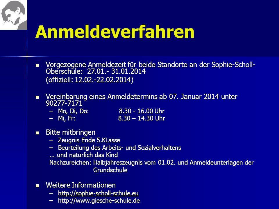 Anmeldeverfahren Vorgezogene Anmeldezeit für beide Standorte an der Sophie-Scholl- Oberschule: 27.01.- 31.01.2014 Vorgezogene Anmeldezeit für beide St