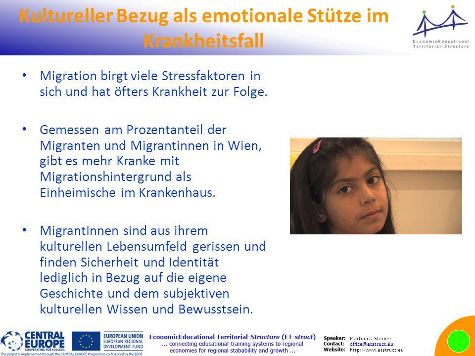 Martina I. Steiner office@etstruct.eu http://www.etstruct.eu Kultureller Bezug als emotionale Stütze im Krankheitsfall Migration birgt viele Stressfak