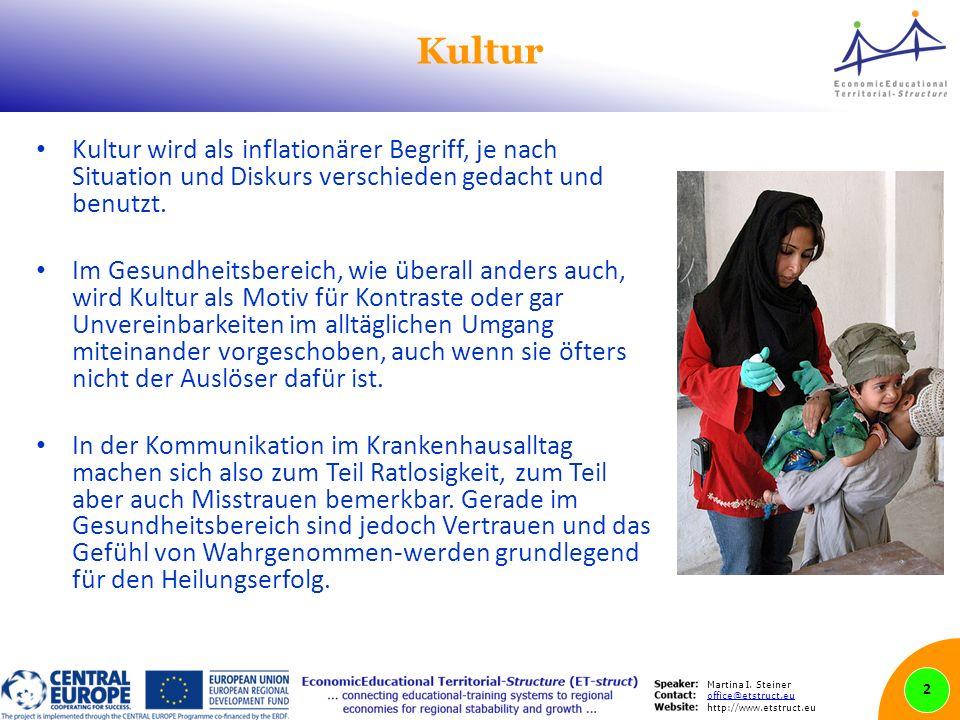 Martina I. Steiner office@etstruct.eu http://www.etstruct.eu Kultur Kultur wird als inflationärer Begriff, je nach Situation und Diskurs verschieden g