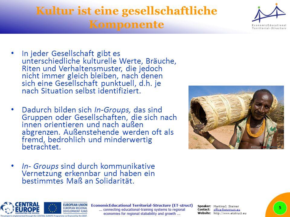 Martina I. Steiner office@etstruct.eu http://www.etstruct.eu Kultur ist eine gesellschaftliche Komponente In jeder Gesellschaft gibt es unterschiedlic