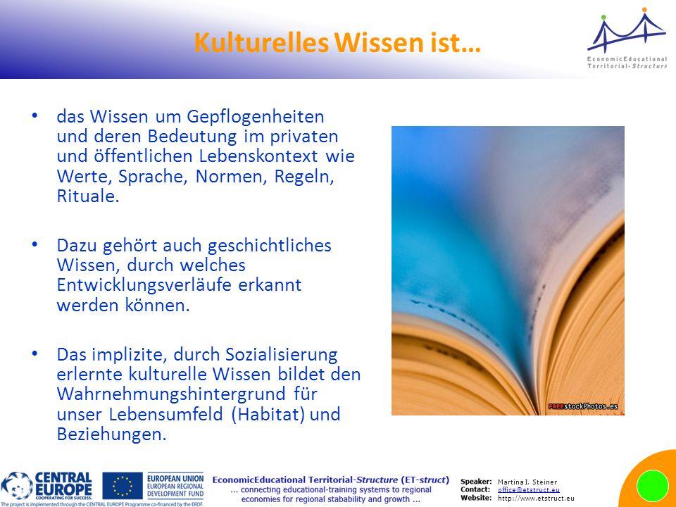 Martina I. Steiner office@etstruct.eu http://www.etstruct.eu Kulturelles Wissen ist… das Wissen um Gepflogenheiten und deren Bedeutung im privaten und